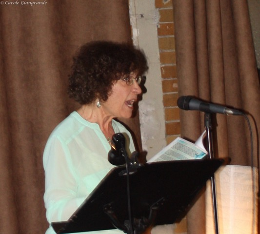 Carole reads at LitLive, Hamilton, Ont. (4 June 2017)